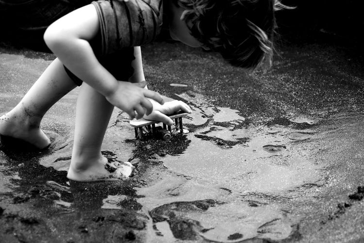 Bali, Indonesia Tranquility Travel Photography Blackandwhite Child Playing Close-up Toy Water