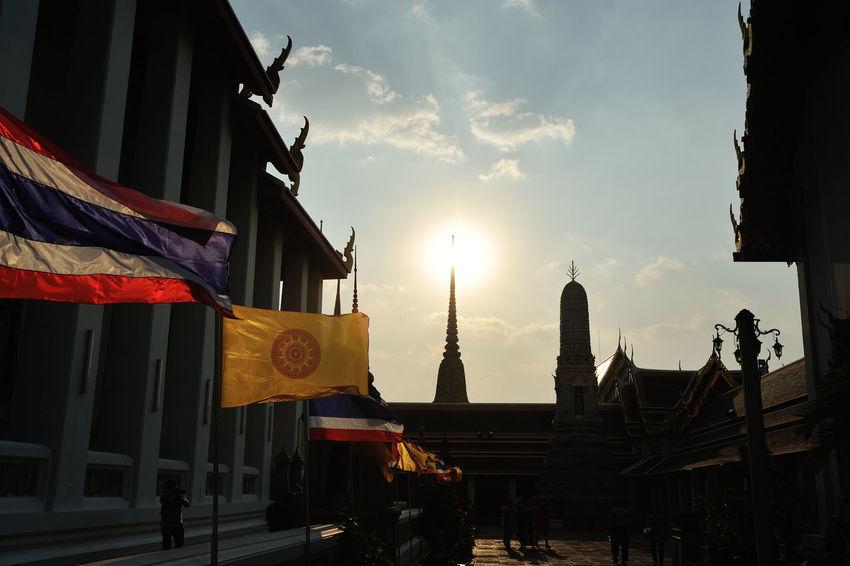 Architecture Building Exterior Built Structure Flag Sun Set Thailand