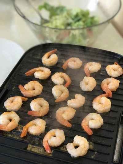 High Angle View Of Cooked Shrimps