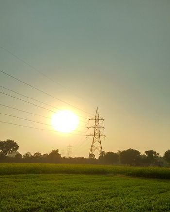 Electricity  No People Electricity Pylon Pylons And Power Lines Evening Sunset Jaipur India Green Mobilephotography Power Lines Fields Fieldscape Farm Farming Farmland Development Rural Development Sun Sunshine Sunlight Sunnyday Sunrays Fireball Nopeople