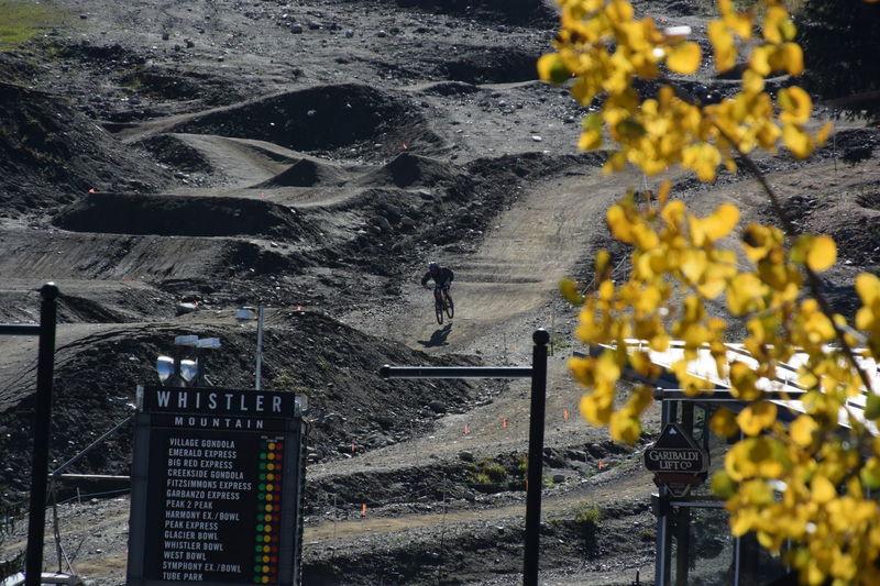 Dangerous Exciting Long Distance Shot Mountain Bike Outdoor Activity Rock Road