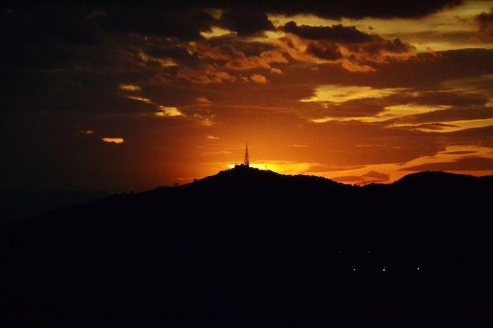 Sunset Barcelona Summernight Orange Color Mountain Silhouette Nature Built Structure Travel Destinations AI Now