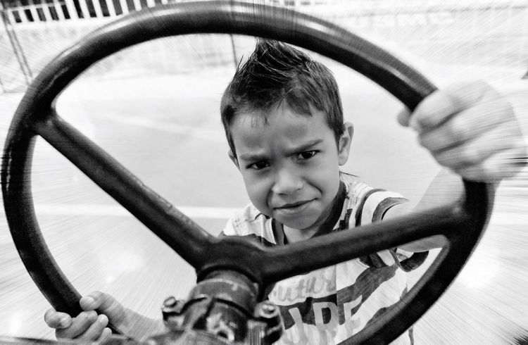 Driving Black & White Leisure Activity Sports Race One Boy Only