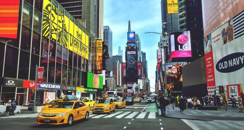 New York City Manhattan Times Square NYC TimesSquare City Yellow Taxi Travel Destinations City Life Advertisement Taxi Architecture