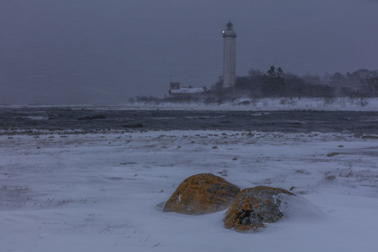 Baltic Sea Långe Erik Sweden Architecture Beauty In Nature Blizzard Built Structure Cold Temperature Day Lighthouse Nature No People Outdoors Sky Snow Snowstorm Stones Water Winter Öland