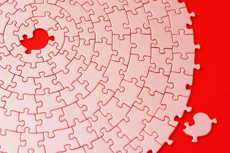 High Angle View Of Puzzle Pieces