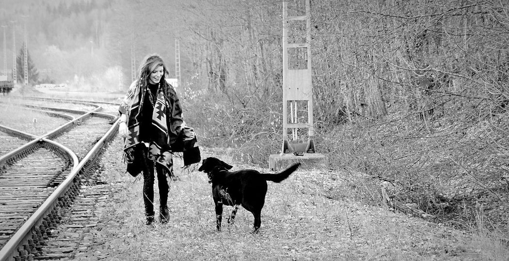 Dog Walking Train Tracks Dogwalking Bestdog  Hello World EyeEm Gallery Pet Love