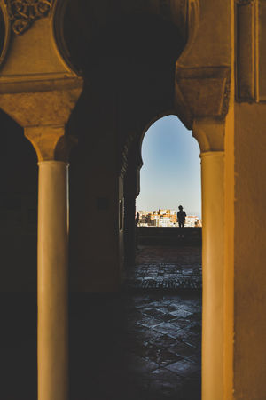 Romantic view through arabic arch. Arabic nights. Romantic Arabic Arabic Architecture Arch Architectural Column Architecture Bridge Bridge - Man Made Structure Building Building Exterior Built Structure Connection Day History Incidental People Nature Outdoors Sky The Past Tourism Travel Destinations Water Waterfront