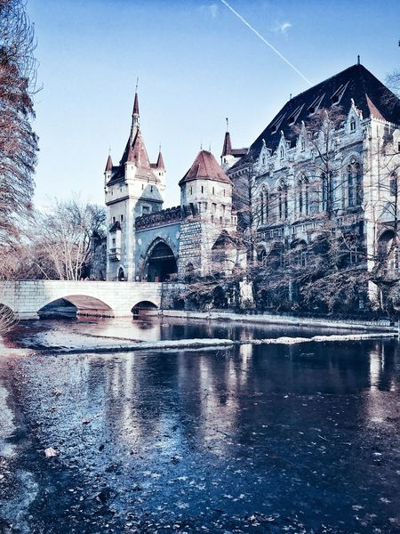 Vajdahunyad Castle Budapest Architecture Built Structure Building Exterior Place Of Worship Sky Outdoors Travel Destinations No People Winter Cold Temperature History Low Angle View Day Water Budapest VajdahunyadCastle Vajdahunyad Vár
