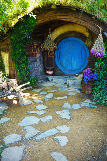 2017 Grass Green Hobbit Architecture Building Exterior Built Structure Day Door Flower House Nature New Zealand Outdoors Plant ニュージーランド ホビット ホビット村 小人