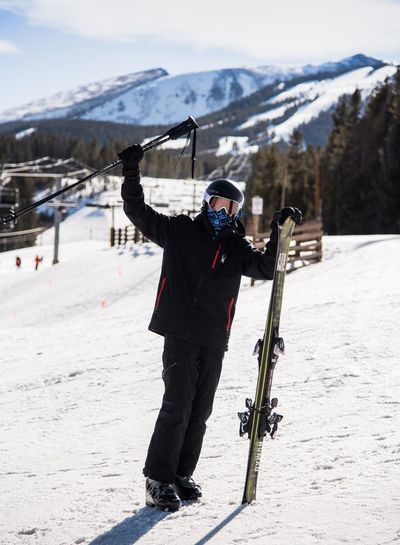 Conquering the slopes Snow Winter Cold Temperature Mountain Full Length Warm Clothing Skiing Frozen Real People Weather Ski Holiday Leisure Activity Day Ski Pole Snowcapped Mountain Nature One Person Mountain Range Outdoors Winter Sport