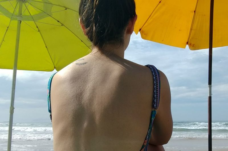 Beach Rear View Nature Trip Vacations Human Back Sea Summer Hairstyle Sky Relaxation Human Body Part