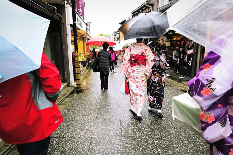 Kyoto Street People And Places Geisha Lifestyles Walking Japan EyeEm Best Shots Culture Battle Of The Cities EyeEm Gallery Travel Photography Female Woman City Life Travel Kimono Heritage Tradition Rain Umbrella Rainy Days Street Color Streetphotography Street Photography