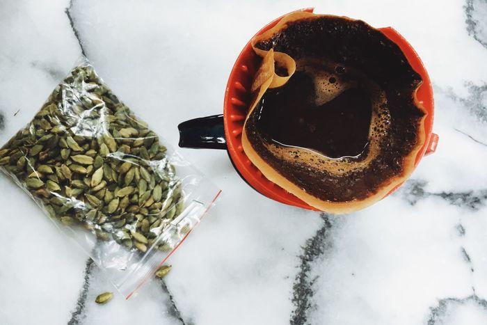 jaipur, india in rajasthan Ayurveda Cardamom Cardamomo Coffee Drip India Marble Melitta Morning Rituals Top Perspective