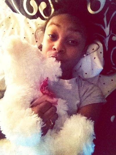 Snuggled Up With The Bear He Gave Me <3