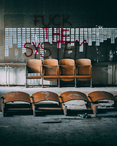 Empty chairs and tables in abandoned room