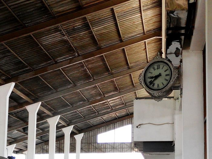 First time stasiun Miles Away Clock Low Angle View Hanging Time No People Architecture Train Station Vintage Signs Station Clock Week On Eyeem Eyeem Market Favoritethings EyeEm Indonesia Bali, Indonesia