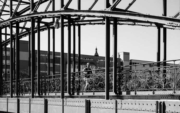 Architecture B&w B&w Street Photography Bridge Brücke Built Structure Cable Charlottenburg  Connection Engineering Jog Jogger Jogging Laufen Low Angle View Metal Outdoors Run Siemenssteg Sky Street Photography