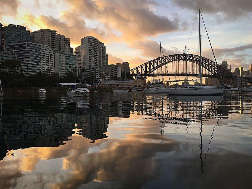 EyeEm Selects Sydney Harbour Bridge Sunrise_Collection Reflection Cloud - Sky Bridge - Man Made Structure Reflection