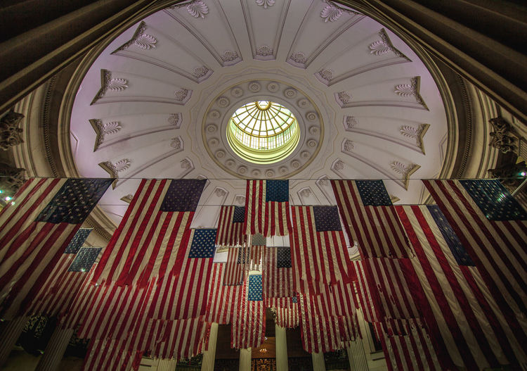 American Flag Federal Building George Washington New York President USA American President Architecture Built Structure Ceiling Constitution Day Flag Heritage Historic History Indoors  Low Angle View No People Place Of Worship Tourism
