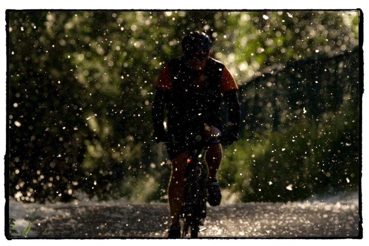 Bike rider in a storm of Poplar fluff. Photography Photo Of The Day Project 365 Canon Bike Rider Poplar Fluff