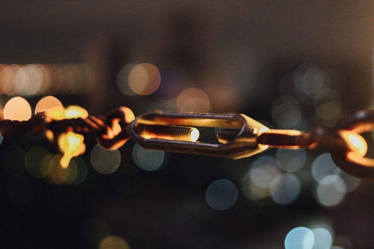 Defocused Image Of Illumiated Chain