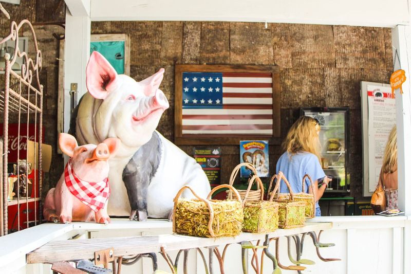 Pig in store Shabby Chic Home Decor Rustic Women Shopping American Flag Shopping ♡ Store Pig Retail  Small Business