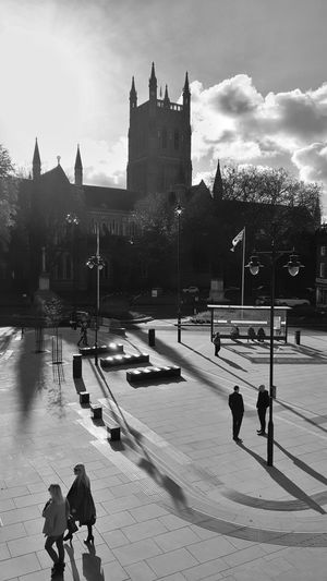 Worcester Cathedral from the Cathedral Plaza Blackandwhite Black & White Architecture Outdoors Built Structure City Building Exterior People