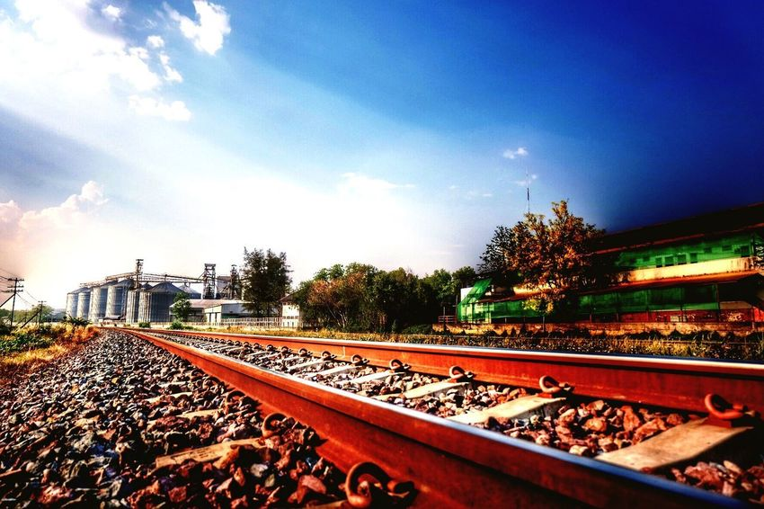 Railroad tracks in Thailand Rail Transportation Sky Track Railroad Track Transportation Cloud - Sky Tree Diminishing Perspective Sunlight Metal Travel Train - Vehicle Outdoors Public Transportation Plant Mode Of Transportation Nature Day Train No People
