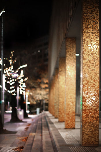 Canberra 2016 Alley Architectural Column Architecture Building Built Structure Canberra Canberra City Canberraaa Canberraatnight Canberralife City Diminishing Perspective Empty Illuminated Lights Night No People Outdoors The Way Forward Vanishing Point Walkway