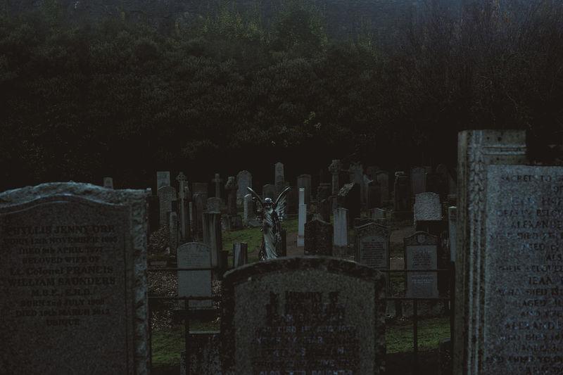 Panoramic view of cemetery