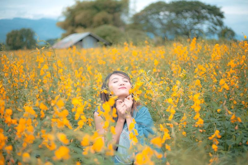 The girl in the field of yellow flowers. Flower Yellow Beauty Field Nature Beauty In Nature Outdoors Lifestyles Rural Scene Growth Leisure Activity Happiness Young Adult Plant Portrait One Person Young Women Sunflower Beautiful Woman Oilseed Rape