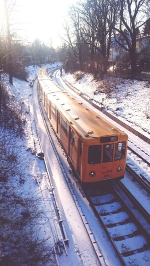 Transportation Mode Of Transport Rail Transportation Train - Vehicle Public Transportation Railroad Track Tree No People Sky Day Eyeemphotography Outdoor Photography Winter Nature Snow Covered Yellow Weilwirdichlieben From Above  Shootermag