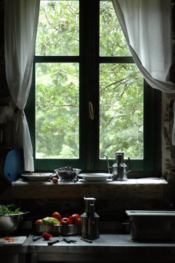 Vegetables and containers on counter by window at home