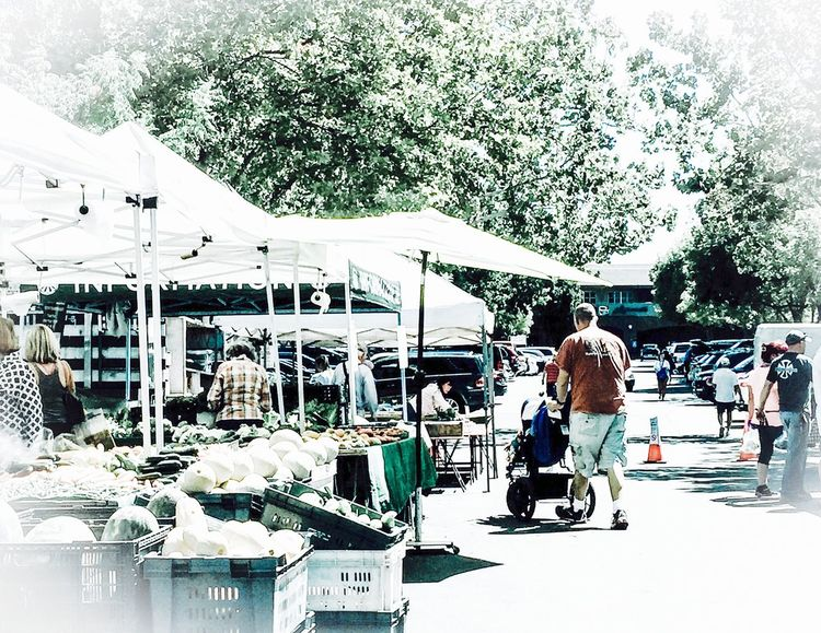 Fatherhood Moments Father & Son Father Baby Stroller Walking Tents Booths People Father And Daughter San Francisco East Bay California Women Men Road Trees Food Produce Farm Markets Food Basket People And Places