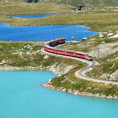 Water Lago Bianco Bernina Pass Berninatrain Berninaexpress Train Mountains Blue Lakes Tranquility Red Train Switzerland Landscape Outdoors Nature