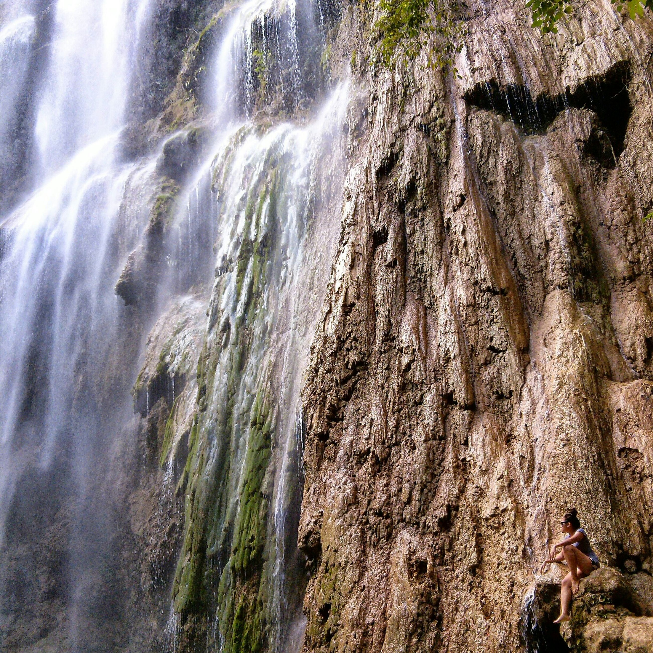 water, full frame, backgrounds, high angle view, motion, nature, textured, rock - object, waterfall, flowing water, day, outdoors, no people, close-up, beauty in nature, rough, sunlight, low angle view, rock formation, tree
