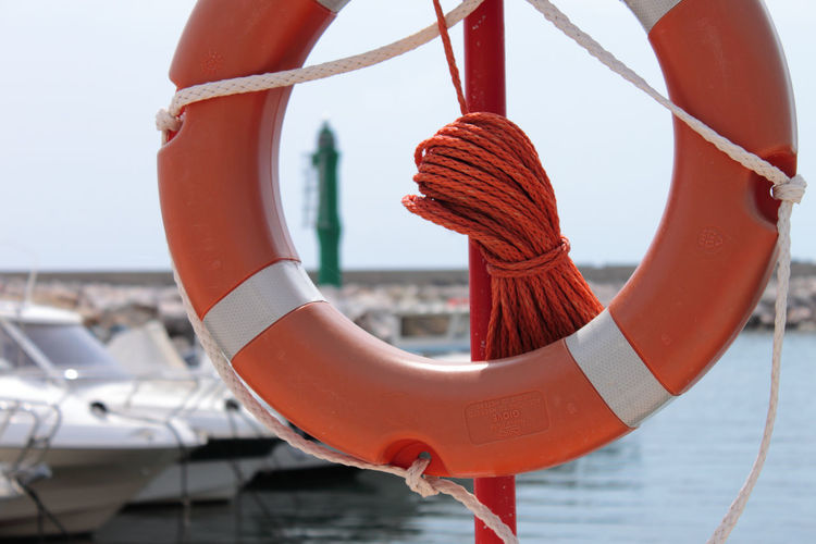 Close-up of rope on boat against sky
