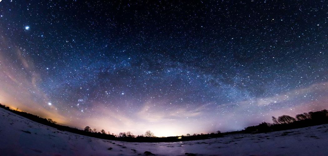 Low Angle View Of Starry Sky At Dusk