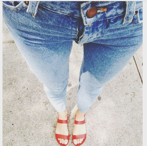 Red. Legs Jeans Model Thigh Gap