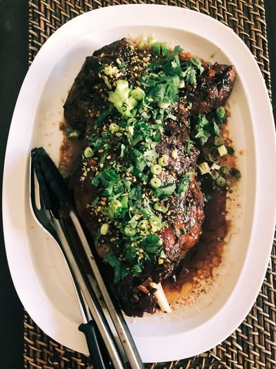 Roast lamb shoulder Lamb Meal Meat Lamb Shoulder Roasted Roast Food And Drink Food Ready-to-eat Freshness Indoors  High Angle View Directly Above No People Plate Eating Utensil Kitchen Utensil Table Serving Size Garnish Meal Still Life