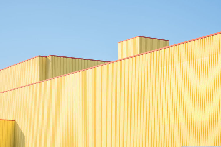 Abstract Architecture Building Exterior Building Feature Built Structure Clear Sky Day Industry Low Angle View Minimalist Architecture No People Outdoors Sky Yellow The Architect - 2017 EyeEm Awards The Graphic City