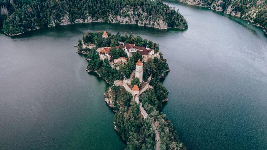 Zvikov castle czech republic. drone shot - aerial view. half island