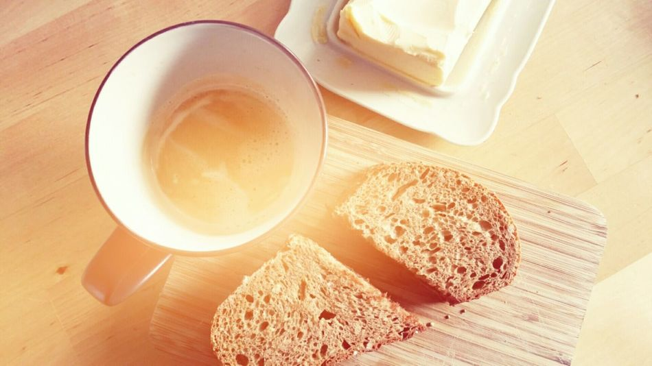 Bread Butter Coffee Breakfast Morning Food Drink Ready-to-eat Fast Cheap Plain & Simple Plain Single 1 Person Tablet Coffee Cup Coffee ☕