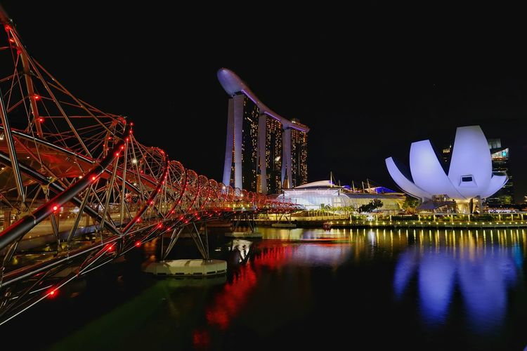 Helix bridge, Singapore. City Landscape Travel Singapore Marina Bay Cityscape Illuminated Water Nightlife Skyscraper Reflection Sky