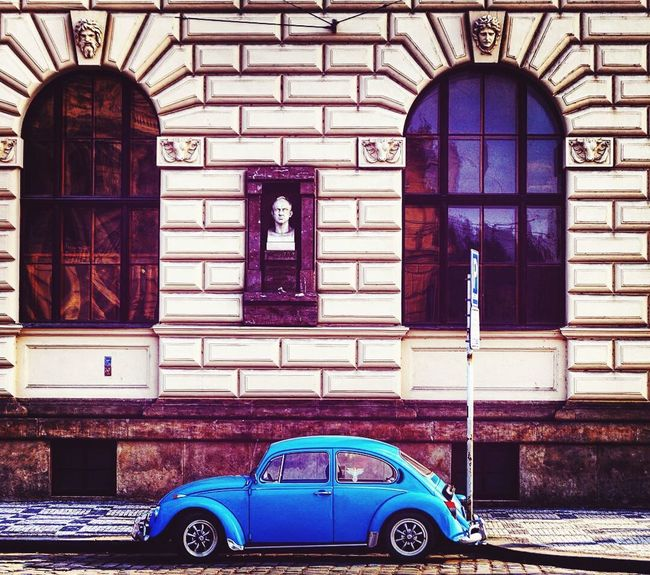 Prague♡ Beautifulcity EyeEm Selects Fotografia Fotografia One Love Combination Of Colors Bluecar Traveling Photography Architecture Car Day Built Structure Transportation Travel Destinations No People Old-fashioned City