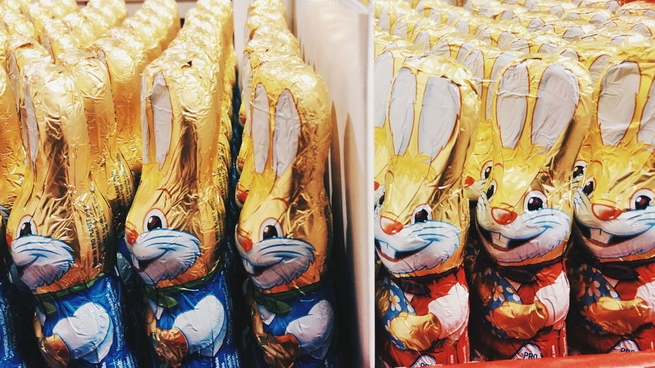Supermarket Easter Easter Ready Easter Bunny Creepy Scary Display Full Frame Large Group Of Objects Shelves