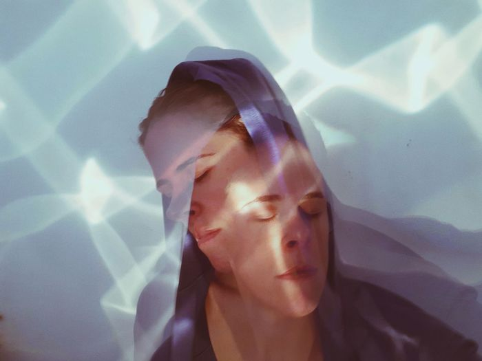 Multiple exposure image of woman face