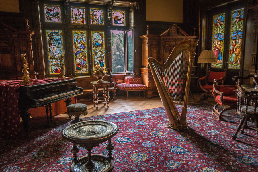 Inside Peles Castle in Romania Peles Castle Peles Romania Indoors  Carpet - Decor Seat Chair Art And Craft Spirituality No People Religion Architecture Belief Table Furniture Place Of Worship Absence Building Ornate Built Structure Flooring Antique Empty Floral Pattern