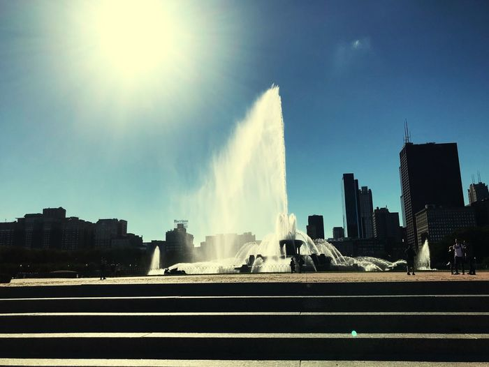 Fountain Architecture City Built Structure Sky Sunlight Nature Cityscape No People